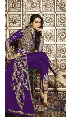 Stylish Embellished Purple Suit